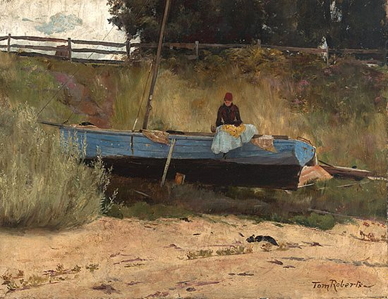 Boat on Beach Queenscliff by Tom Roberts, ca 1887, landscape painting.