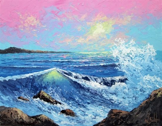 Seascape by Wilson Bickford, oil painting.