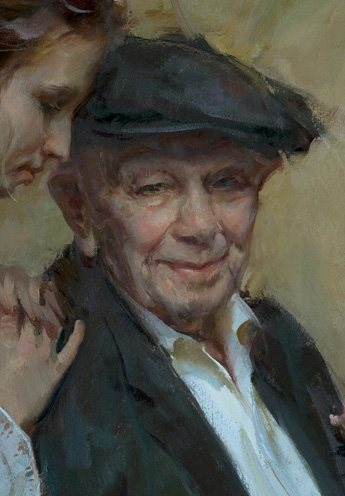 A Carnation for Grandpa (detail) by Daniel Gerhartz, oil painting, 36 x 24.