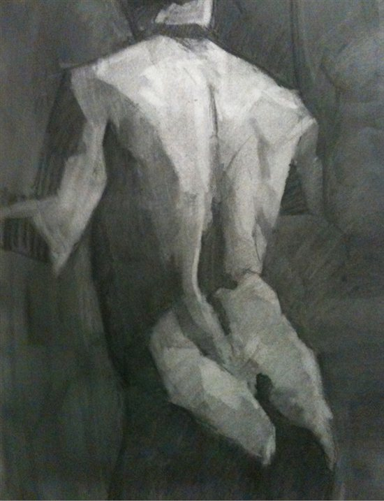 Jason Espey's figure drawing of the male back.