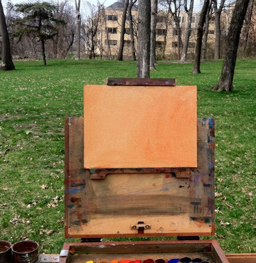 Wait until you are in front of your outdoor painting scene before deciding what to tone your surface.