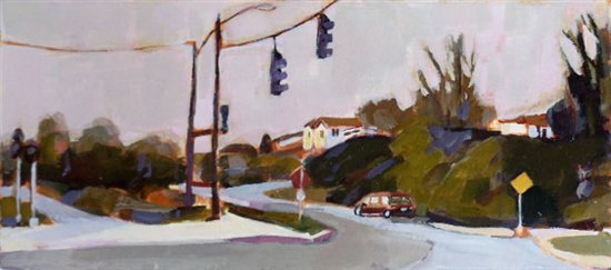 Crossroads, acrylic on board, 18.5 x 14.5.