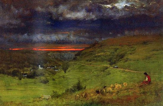 Sunset at Etretat by George Inness.