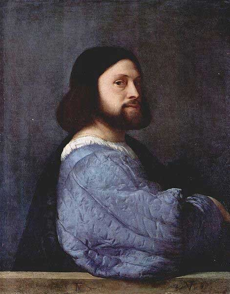 Portrait of a Man by Titian, oil painting, 1510-12.