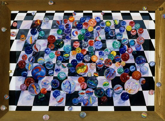 Losing My Marbles by Lisa Dinhofer, 2003, oil painting on wood panel, 38 x 52.