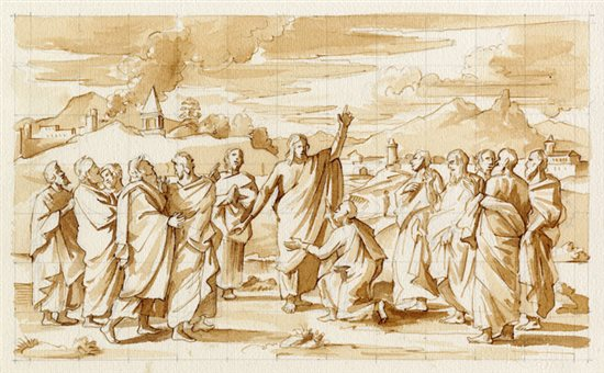 Copy after Poussin's drawing for his painting of Ordination