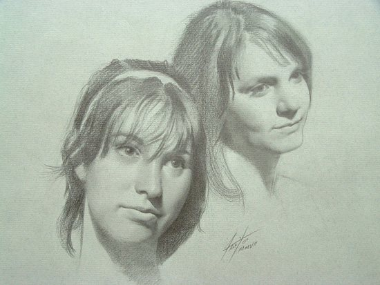Pencil drawing by Fernando Freitas: Jesse and Friend