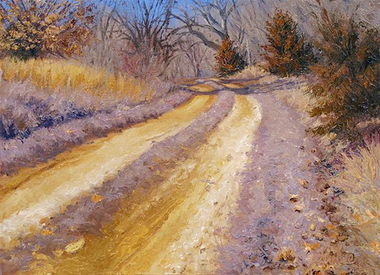 Winter Thaw by John Hulsey, oil painting, 9 x 12.
