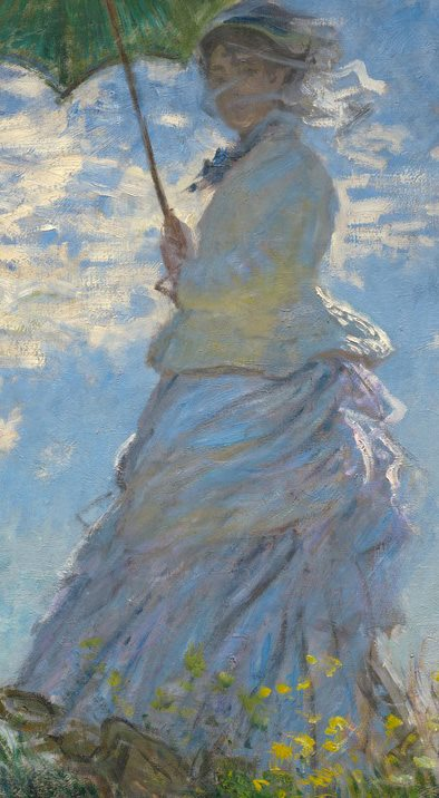 Woman with a Parasol - Madame Monet and Her Son by Claude Monet, 1875, oil on canvas. Detail.