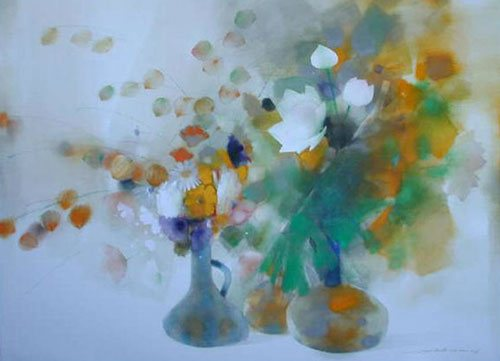 Flower Arrangements with Lotus by Law Wai Hin, 22 x 30, watercolor painting.