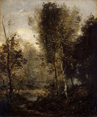 Pool in the Woods by Jean-Baptiste-Camille Corot, landscape oil painting, 1865-1870.