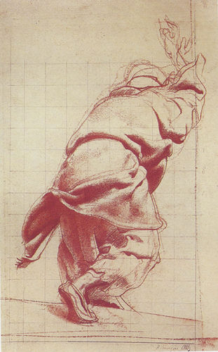 Pietro Annigoni drawing of a draped figure