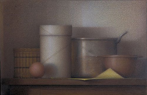 Still Life With Spaldeen 2005, colored pencil and ink wash on canvas, 12 x 20. OK Harris Works of Art, New York, New York.