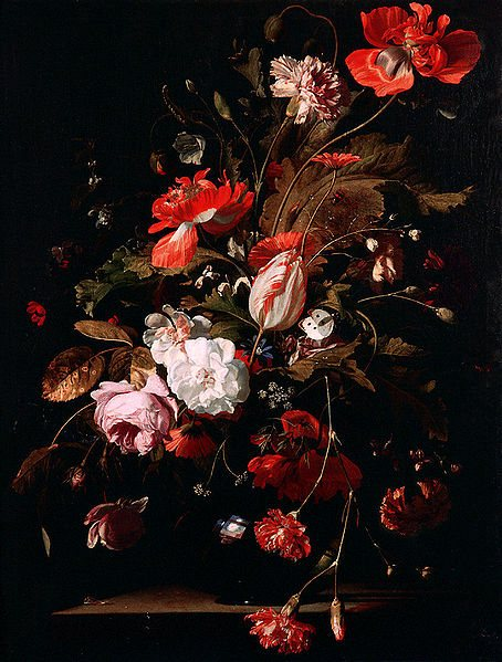 Still Life with Flowers by Willem van Aelst, oil on canvas, 1665.