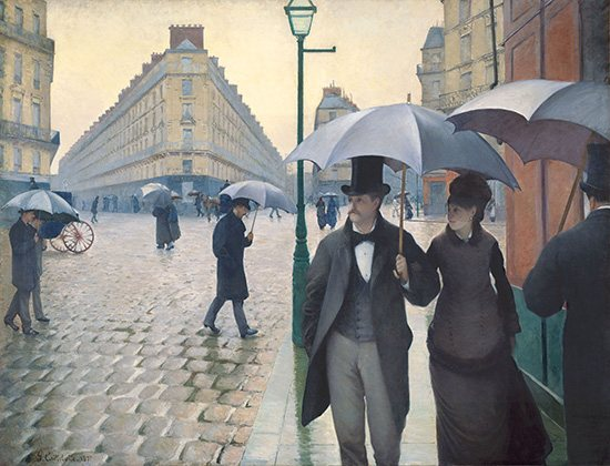 Caillebotte's Jour de pluie a Paris: an example of two-point perspective