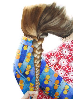 Braid by Allison Maletz, watercolor painting.