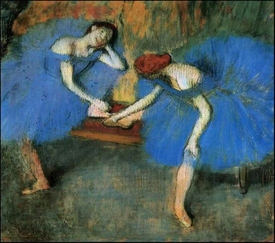 Two Dancers in Blue by Edgar Degas, 1899, pastel figure drawing.