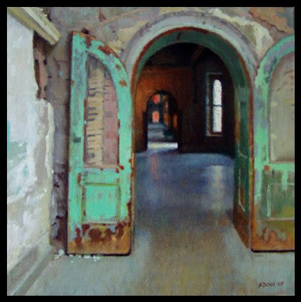 Eastern State Penitentiary by Kerry Dunn, oil on linen, 16 x 16.