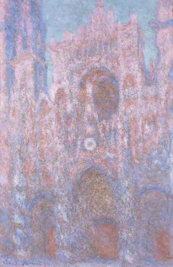 Rouen Cathedral: Setting Sun (Symphony in Grey and Pink) by Monet, 1892-1894, oil on canvas.