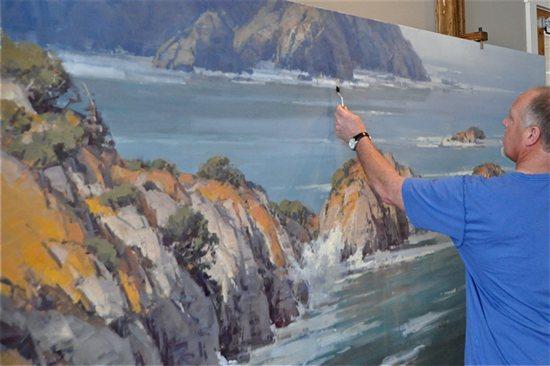 Scott Christensen working on a large oil canvas.
