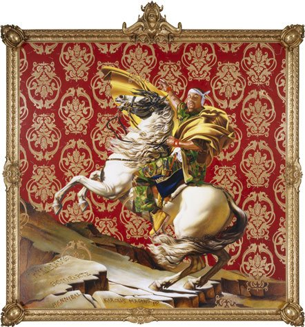 Napoleon Leading the Army Over the Alps by Kehinde Wiley, oil on canvas, 9' x 9', 2005.