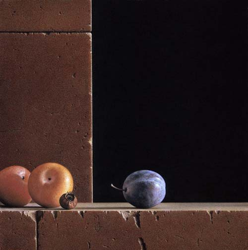 Pastel painting by G. Daniel Massad: Three Plums and Rosehip, pastel, 2005