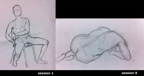 Just to demonstrate the statement that everyone can learn to draw. Here, and below, are two comparison drawings of my students from the last term. The progress they made in just nine three-hour sessions is noteworthy.