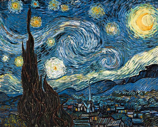 Starry Night by Vincent Van Gogh, oil painting, 1889.