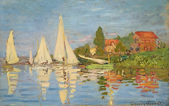 Black and white and full-color versions of Monet's Regatta at Argenteuil, oil painting.