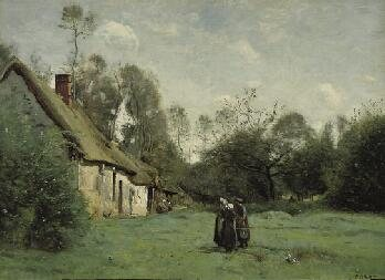 Thatched Cottage in Normandy by Jean-Baptiste-Camille Corot, landscape oil painting, c. 1872.