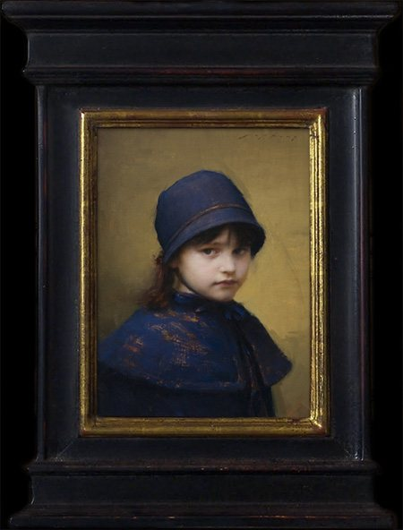 Skylar in Blue by Jeremy Lipking, oil painting, 16 x 12. The frame lends distinction and a historic feel to the work.
