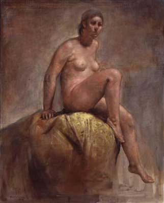 Seated Nude on Yellow Tapestry by Horacio Torres, 1975, oil on canvas, 62 x 50.
