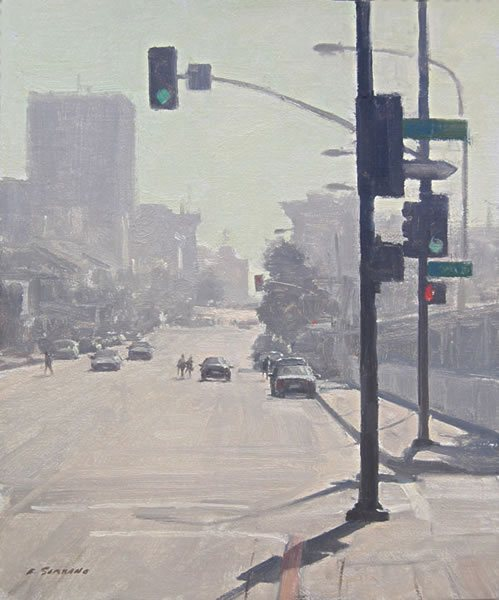 Colorado Blvd., Pasadena by Frank Serrano, oil on canvas, 12 x 10.