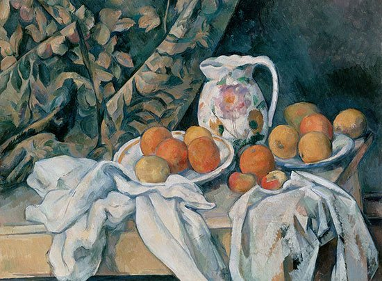 Full color version of Still Life with Curtain by Cezanne.