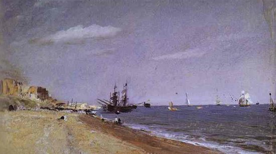 Brighton Beach with Colliers by John Constable, oil painting, 1824.