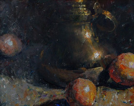 Still life painting by CW Mundy: Brass with Oranges