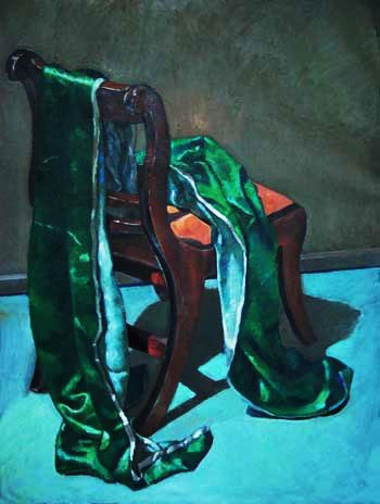 Green Silk on Chair by Desmond Haughton, oil on canvas.