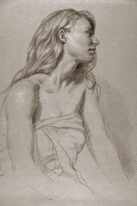 Julie in Profile by Jon deMartin, 2009, chalk drawing on toned paper, 24 x 18.