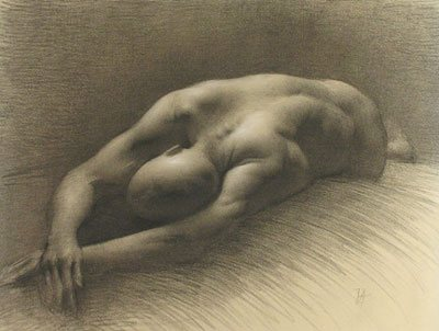 Sutherland Series #5 (Stretching) by Juliette Aristides, charcoal drawing, 15.5 x 21, 2005.