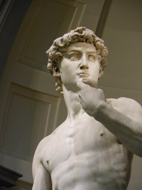 My view of Michelangelo's David in the Galleria dell' Accademia in Florence, Italy.