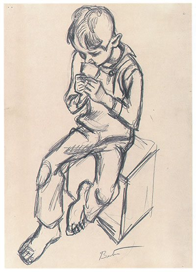 Drawing lessons from THB: Study for Farming by Thomas Hart Benton, drawing, 1937.