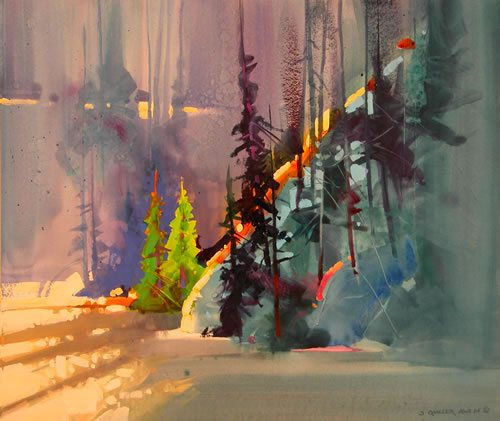February Shadows, Rio Grande by Stephen Quiller, acrylic painting, 17 x 19 1/2.