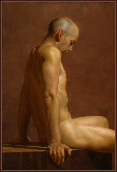 Thinking Man by Jacob Collins, oil painting, 30 x 20, 2004.