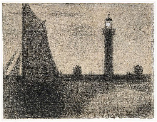 The Lighthouse at Honfleur by Georges Seurat, 1886, conté crayon drawing, 9 1/2 x 12 1/8.