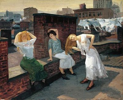 Sunday, Women Drying Their Hair by John French Sloan, 1912, oil on canvas, 26 1/8 x 32 1/8. Collection Metropolitan Museum of Art.