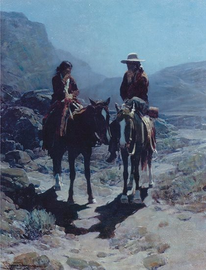 Two Figures at Dusk by Frank Tenney Johnson, oil painting.