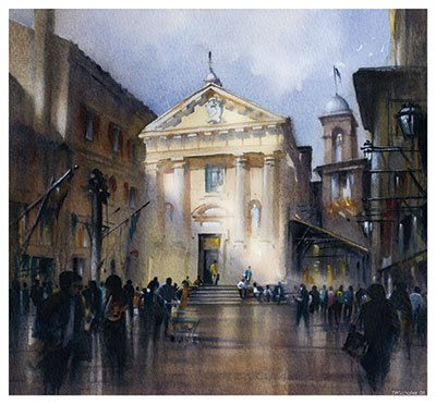 St. Christopher's--Sienna, Italy, 2009, watercolor, 13 x 13. by Thomas Schaller