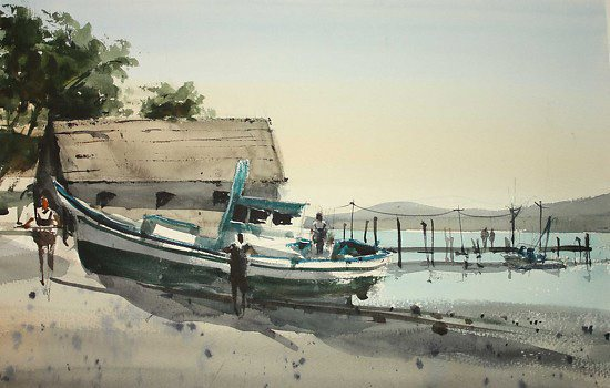 China Camp Village by David Savellano, watercolor painting, 14 x 21.
