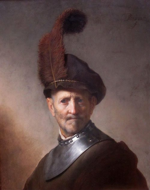 An Old Man in Military Costume by Rembrandt, oil on panel, 26 x 20.
