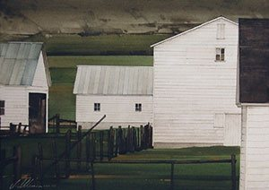 White Barns watercolor painting, 12 x 16, 2008, by Joseph Alleman.